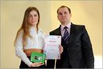 Дарья Мозалева и представитель компании 'Мегафон'. Открыть в новом окне [52 Kb]