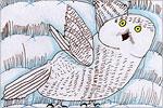 Мазурин Артём. Белая сова в снежной степи