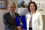 Встреча ректора ОГУ Жанны Ермаковой с проректором по международной деятельности Университета Хиросимы профессором Тошиюки Сато