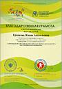 Благодарственная грамота от Российского государственного социального университета